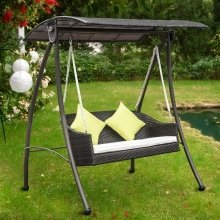 Outsunny Rattan Swing 3 Seater Garden Lounger