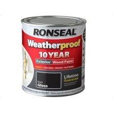Ronseal 10 Year Weatherproof  Exterior Wood Paint 750ml - GLOSS Black