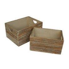Set of 2 Oak Effect Heart Cut Handle Wooden Storage Crate
