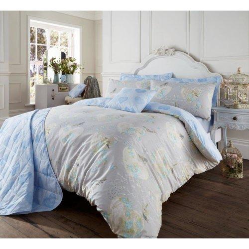 Love Bird grey & blue cotton blend duvet cover