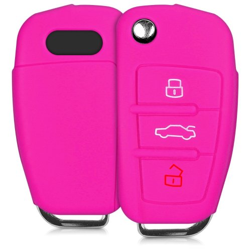 kwmobile Audi Car Key Cover - Silicone Protective Key Fob Cover for Audi 3 Button Flip Key - Dark Pink