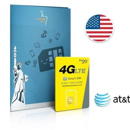 Prepaid SIM card USA AT&T network - 4GB 4G LTE - International calls & texts - 60 Days
