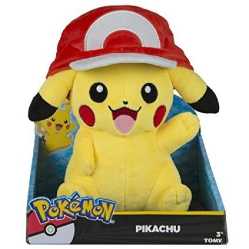Genuine Tomy Pokemon Large Plush Pikachu With Ash's Hat NEW UK