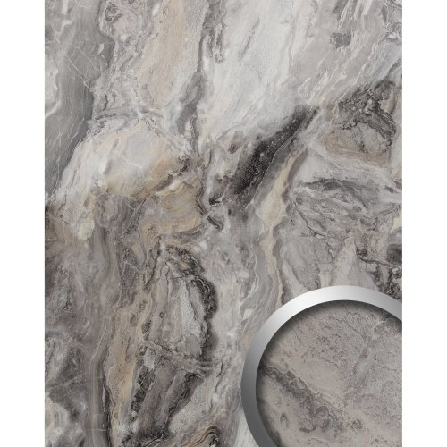 WallFace 19340 MARBLE ALPINE Design Panelling marble look glossy grey 2.6 sqm