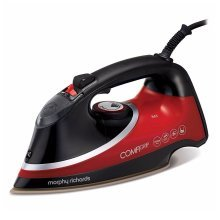 Morphy Richards 303118 Comfigrip Steam Iron Tri-Zone Pearl Ceramic Soleplate Red