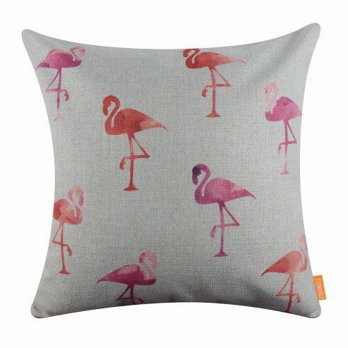 "18""x18"" Modern Watercolor Flamingo Burlap Pillow Cover Cushion Cover"