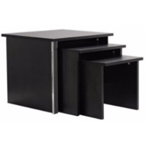 COLUMN - Modern Nest of Three Tables - Black Ash / Chrome