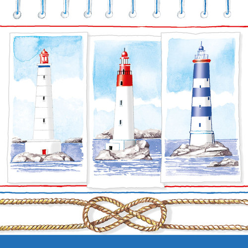 Ambiente 3 Ply Paper Lunch Napkins, Lighthouses