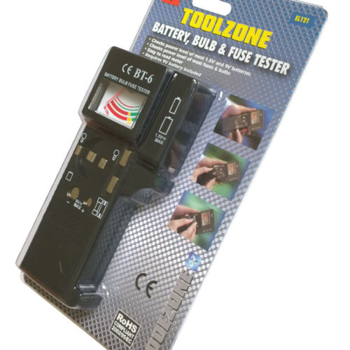 Toolzone Universal Battery, Bulb & Fuse Tester - 1.5v And 9v Batteries And 1.5v -  15v 9v battery bulb fuse tester continuity bulbs load aaa pp3