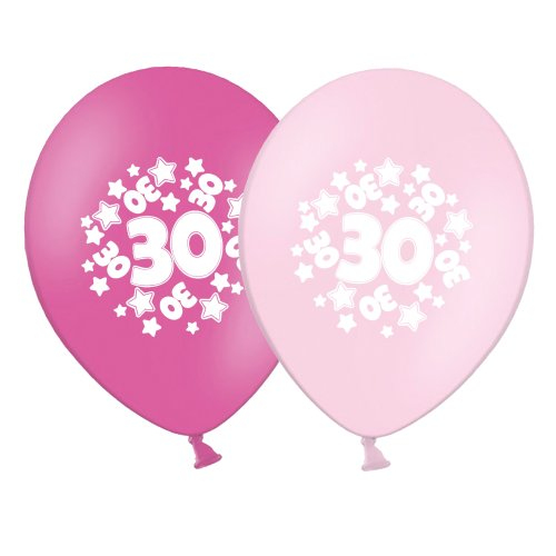 """number 30 - stars -  12""""  Pink Assortment Latex Balloons pack of 12"""
