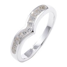 Sterling Silver Channel Set Wishbone Cubic Zirconia Ring - Size K
