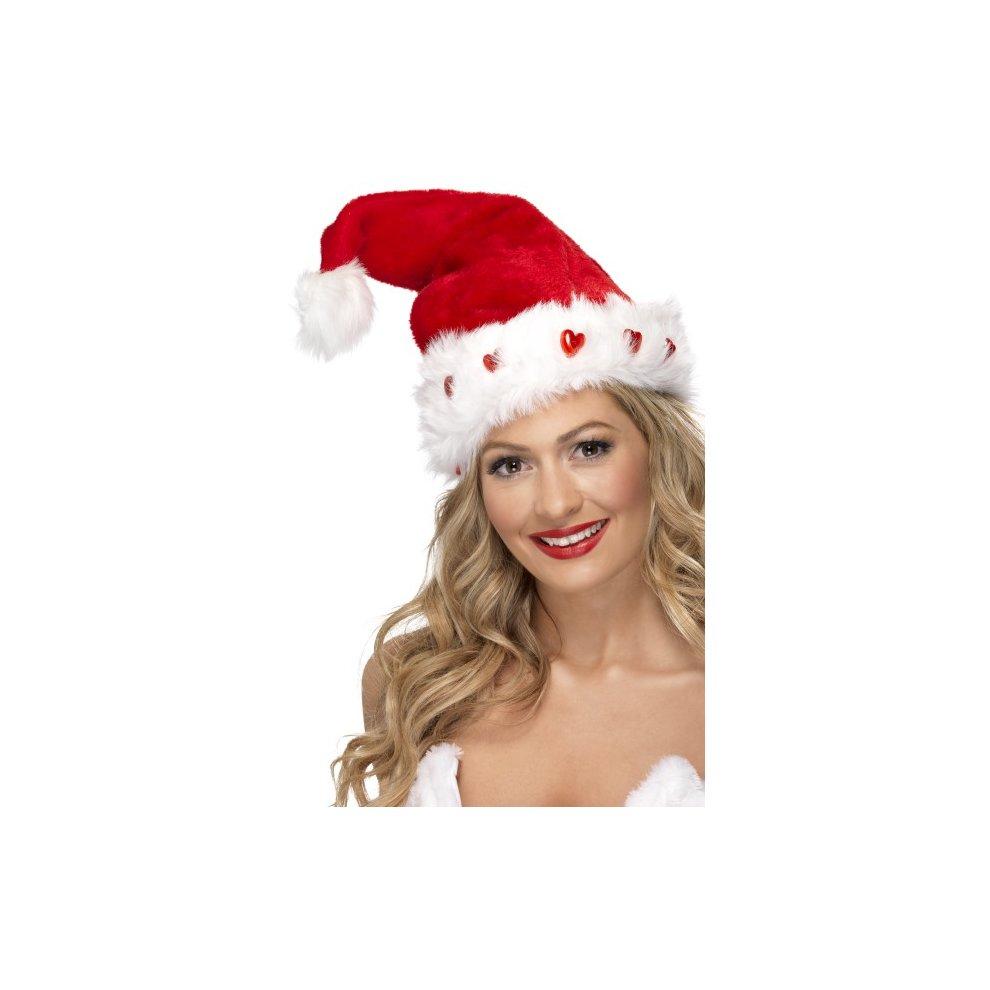 a63f3617d Light Up Santa Hat, Red, Deluxe - light up santa hat smiffys christmas  fancy dress costume