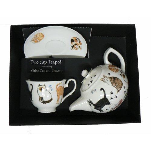 Cat Teapot cup & saucer set - Porcelain teapot, with china cup & saucer in box