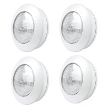 4 Pack Xtralite Omni Small 7.5cm 3 LED White Tap Light, Cordless Battery Powered With 3M Command Strips, 40 Lumens Of Light
