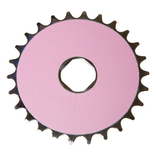 26T TEETH SPROCKET for ONE PIECE CRANK Bike/Bicycle SILVER & PINK (Square) NEW