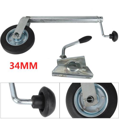 34MM Jockey Wheel With Clamp - Telescopic Plastic Rim Caravan Trailer UK