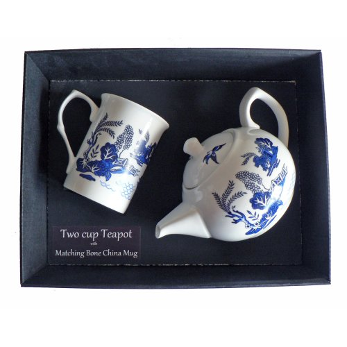 Blue Willow Teapot and Bone China Mug in Gift Tray