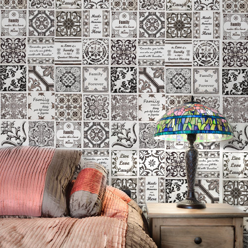 Walplus Tile Sticker English Quote Retro Brown Wall Sticker Decal (Size: 20m x 20cm @ 12pcs)