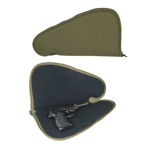 Small Single Tactical Padded Pistol Gun Carry Hand Case Lockable Shooting Olive