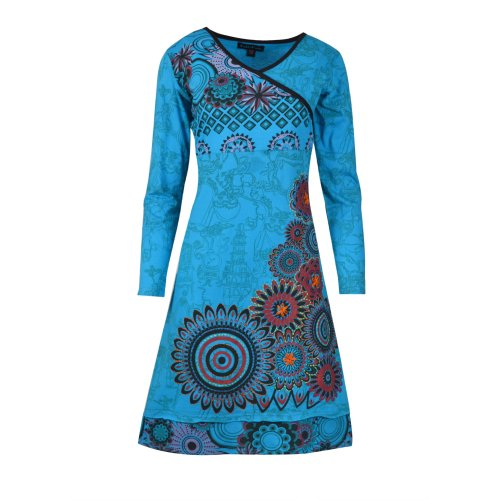 Women's Long Sleeve Dress with All Over Print and Floral Embroidery