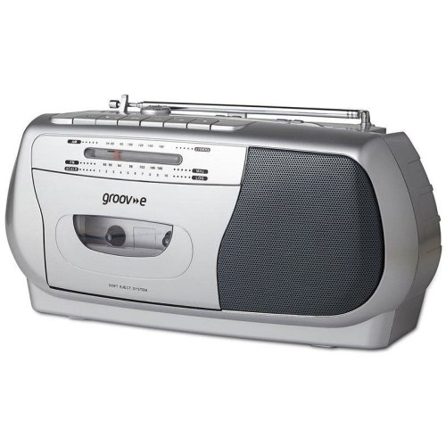 Groov-e Retro Series Portable Cassette Player with Radio - Silver (GVPS575SR)