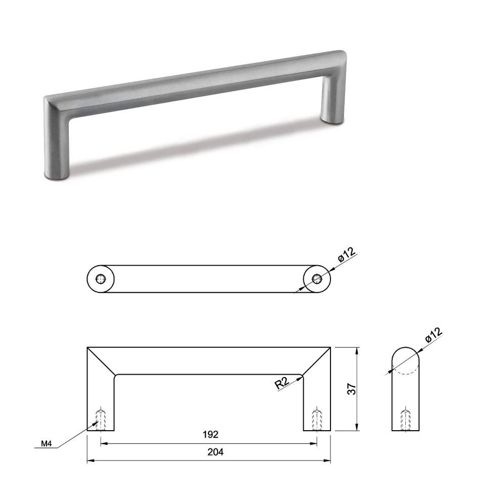 MEDIUM DOOR PULL HANDLE Stainless Steel C Bar Straight Bolt