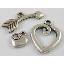 10 x Tibetan Style Toggle Clasps  - Heart with Charm