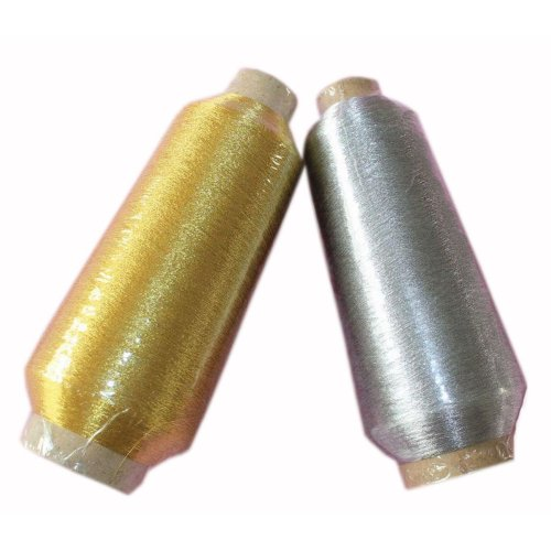 Set of 2, 1 Gold & 1 Silvery Spools Polyester Sewing Thread 5000 Yard(125g Each)