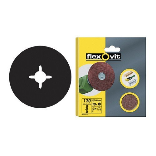 Flexovit 63642526382 Drill Mountable Discs 125mm Medium 80g Pack of 10