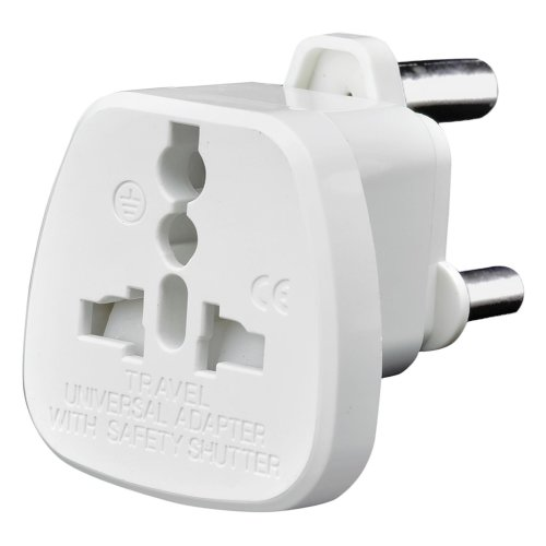 Tech Traders TTSAP Universal Socket to 3-Pin Prong for Travel Adapter Plug, White, Set of 2 Pieces
