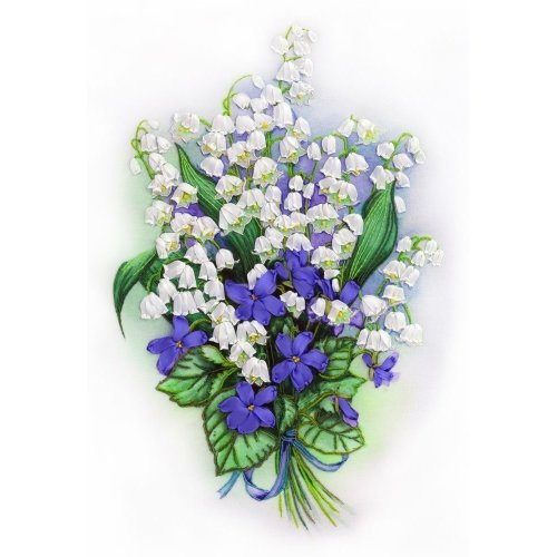 Embroidery Kit by Panna - living picture - silk ribbon stumpwork - Lily of the Valley & Sweet Violet