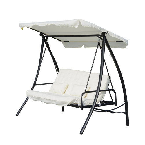Outsunny 3 Seater Swing Chair 2-in-1 Hammock Bed Patio Garden Cushion Outdoor Canopy Convertible Lounger Porch Backyard Cream White on OnBuy  sc 1 st  OnBuy & Outsunny 3 Seater Swing Chair 2-in-1 Hammock Bed Patio Garden ...