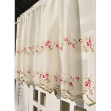 Two-Layer Rose Embroidery Cafe Curtain Beautiful Floral Window Valance