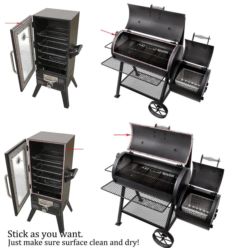 LANUCN BBQ Smoke Seal Strip//Self Stick Leak Proof Smoker Gasket//Oven Door Seal