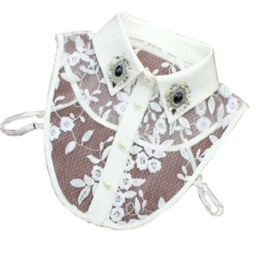 Handmade Lace Detachable Collar With Rhinestone Fake Collar Embroidered Collar, C