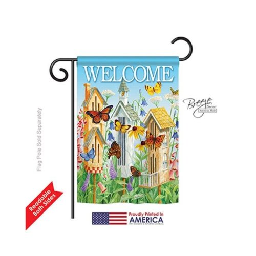 Breeze Decor 50047 Welcome Butterfly Houses 2-Sided Impression Garden Flag - 13 x 18.5 in.
