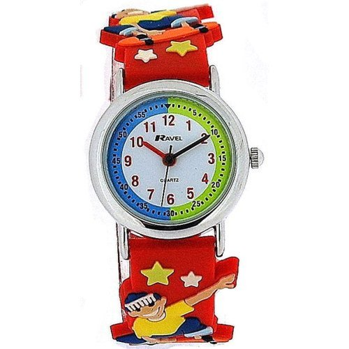 Ravel Time Teacher 3D Skateboarder Design Red Rubber Strap Kids Watch R1513.58