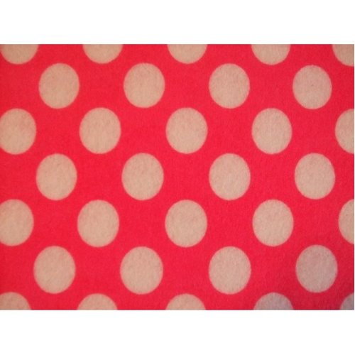 "Pink with White Spots Spotty Polka Dot Felt. 9"" x 12"