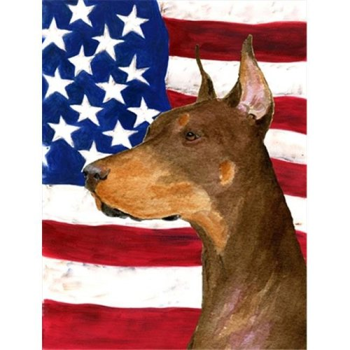 11 x 15 in. Usa American Flag With Doberman Flag Garden Size