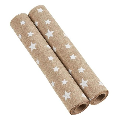 Saro Lifestyle GL213.N Star Design Fabric Roll - Natural, Set of 2
