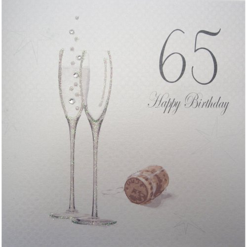 WHITE COTTON CARDS Champagne Flutes 65 Happy Birthday Handmade 65th Card On OnBuy