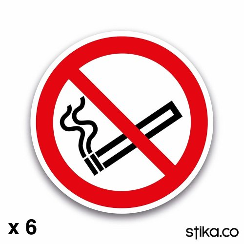 6-Pack 75mm No Smoking Sign Stickers on white self-adhesive vinyl for car/van/taxi