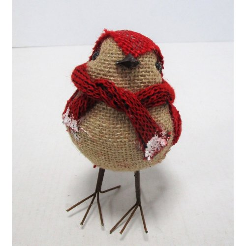 Christmas Bird Brown/Red with Scarf - 12cm - Winter/Christmas Decorations
