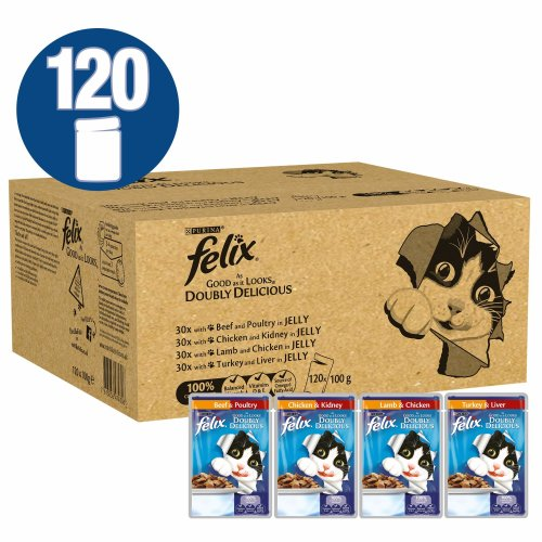 Felix As Good As It Looks Doubly Delicious Cat Food, 100 g, Pack of 120