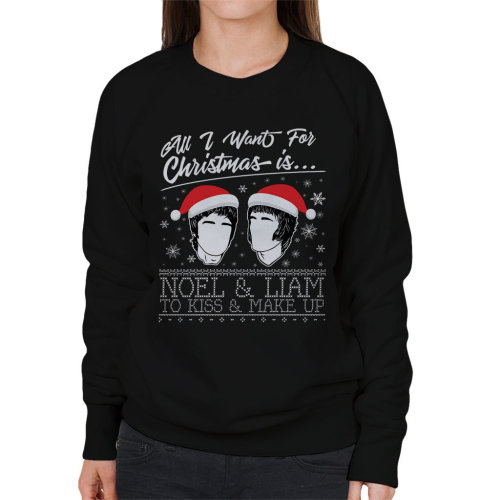 All I Want For Christmas Is Noel And Liam To Kiss And Make Up Oasis Christmas Knit Women's Sweatshirt