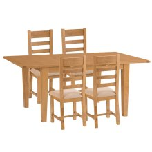 Rustic Oak 1.6m Butterfly Extending Table & 4 Fabric Seat Chairs