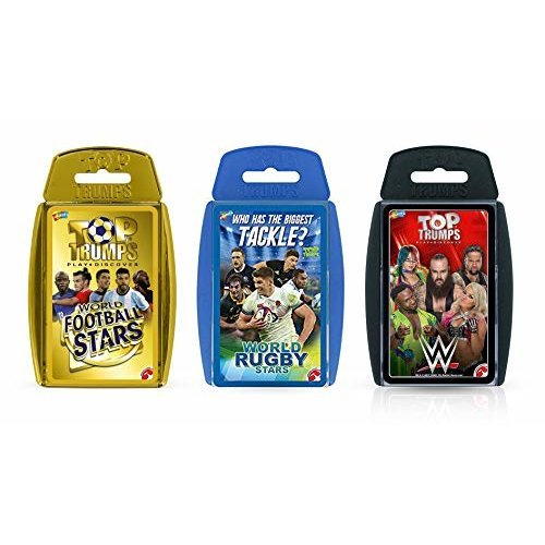 Top Trumps Sporting Heroes Card Game Bundle - WWE, Football and Rugby Stars