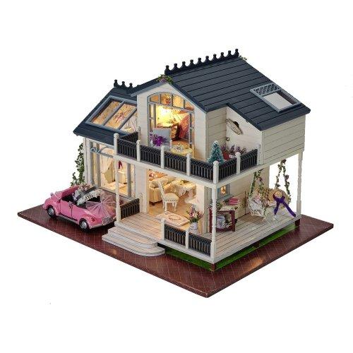 DIY Wooden Dolls House Handcraft Miniature Kit- Provence villa Model & Furniture & Voice controller Music box