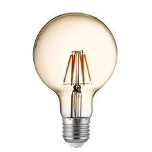 Pack 5 X Globe E27 Dimmable Filament LED Amber Glass