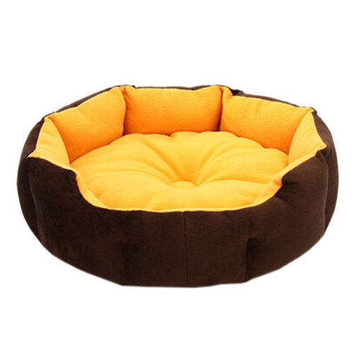 Stylish Pet Bed Pet House Detachable Doghouse Kennel for Small Pets Yellow+Brown